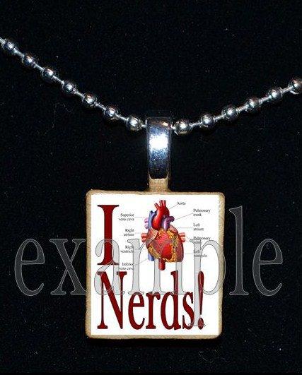 I LOVE NERDS Scrabble Necklace Pendant Charm Key-chain Gift