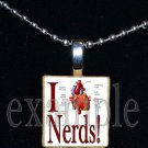 I LOVE NERDS Scrabble Necklace Pendant Charm Key-chain Gift