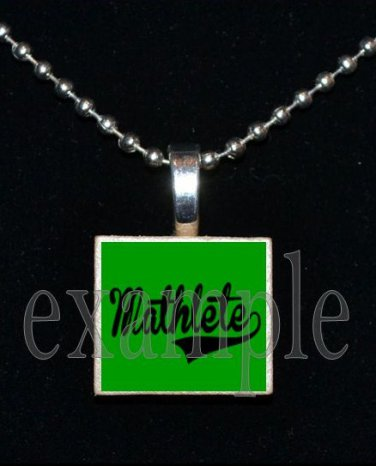 MATHLETE Scrabble Necklace Pendant Charm Key-chain Gift