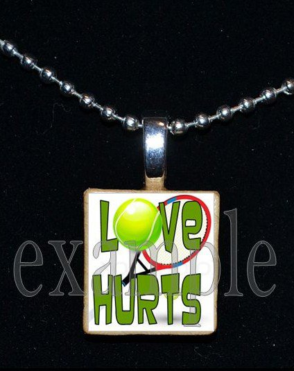 LOVE HURTS TENNIS Scrabble Necklace Pendant Charm Key-chain Gift