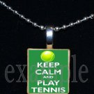 KEEP CALM AND PLAY TENNIS Scrabble Necklace Pendant Charm Key-chain Gift