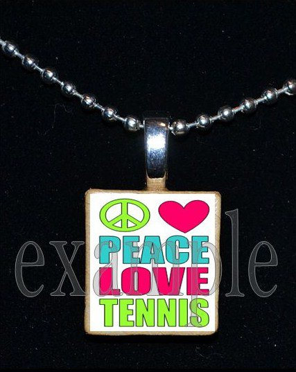 PEACE LOVE TENNIS Scrabble Necklace Pendant Charm or Key-chain Gift