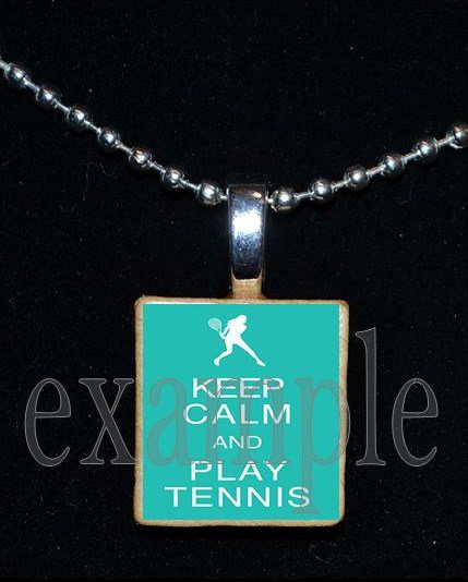 KEEP CALM AND PLAY TENNIS Scrabble Necklace Pendant Charm or Key-chain Gift
