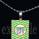 TENNIS GIRL Scrabble Necklace Pendant Charm or Key-chain Gift