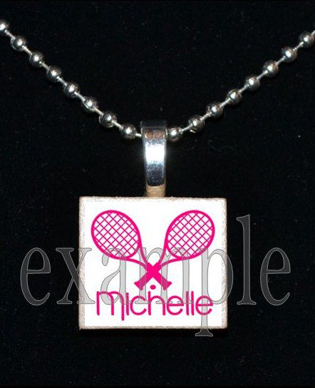 PERSONALIZED TENNIS Scrabble Necklace Pendant Charm or Key-chain Gift