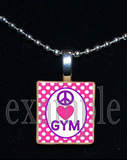 Peace Love Gymnastics GYM Scrabble Necklace Pendant Charm Key-chain Gift