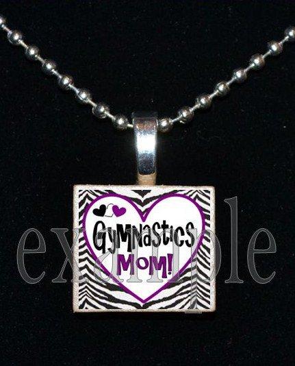 Gymnastics Mom GYM Team Scrabble Necklace Pendant Charm Key-chain Gift