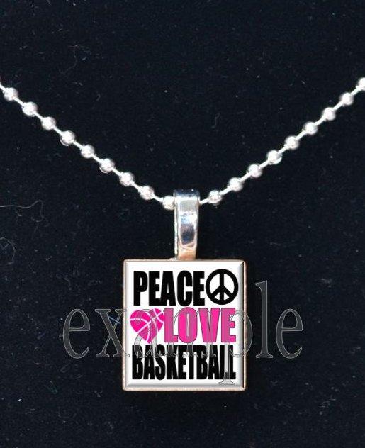 PEACE LOVE BASKETBALL Scrabble Necklace Pendant Charm Key-chain