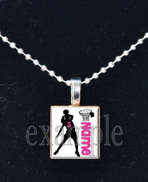 PERSONALIZED BASKETBALLNAME Scrabble Necklace Pendant Charm or Key-chain
