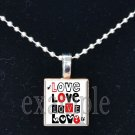 LOVE Sweetheart xOx Scrabble Tile Pendant Necklace Charm Key-chain