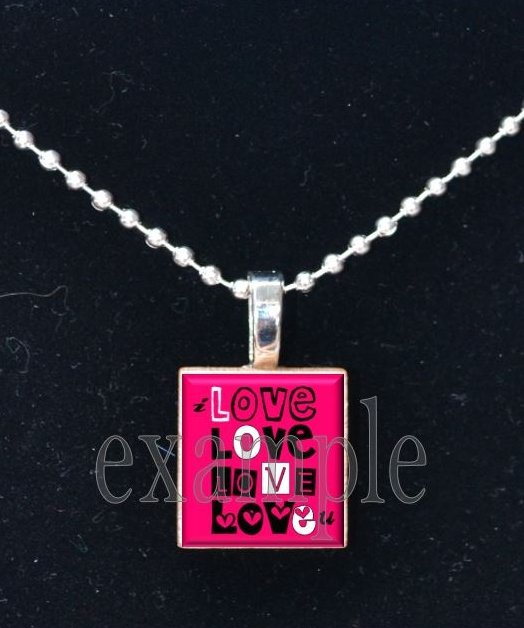 LOVE Sweetheart xOx Personalized Scrabble Tile Pendant Necklace Charm OR Key-chain
