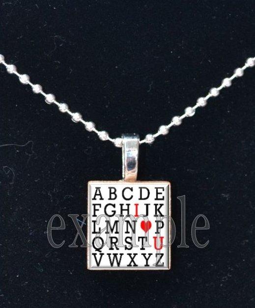 ABC I LOVE U Sweetheart xOx Scrabble Tile Pendant Necklace Charm Key-chain