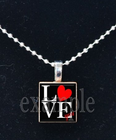 LOVE Sweetheart xOx Scrabble Tile Pendant Necklace Charm OR Key-chain
