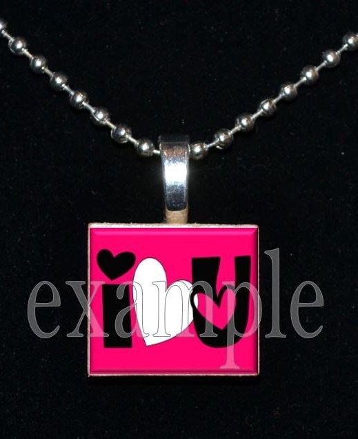 I LOVE U Sweetheart xOx Personalized Scrabble Tile Pendant Necklace Charm Key-chain