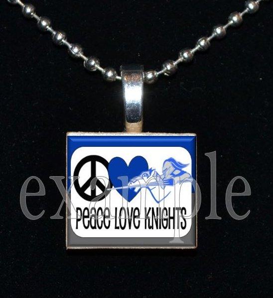 PEACE LOVE ROCKY BAYOU KNIGHTS School Team Mascot Pendant Choices