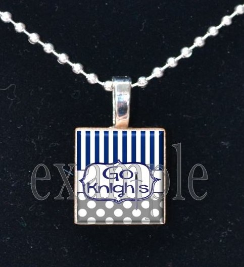"""Go Knights"" ROCKY BAYOU KNIGHTS School Team Mascot Pendant Choices"