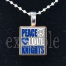 """Peace Love Knights"" ROCKY BAYOU KNIGHTS School Team Mascot Pendant Choices"