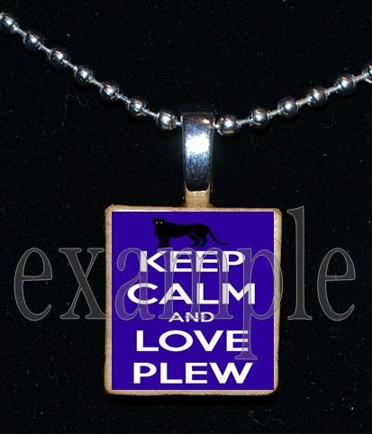 KEEP CALM LOVE PLEW PANTHERS Elementary School Team Mascot Pendant Necklace Charm or Keychain