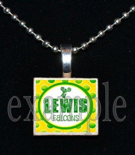ADDIE R LEWIS FALCONS CHEERLEADER School Team Mascot Pendant Necklace Charm or Keychain