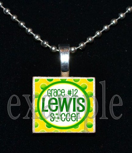 ADDIE R LEWIS FALCONS PERSONALIZED SOCCER School Team Mascot Pendant Necklace Charm or Keychain