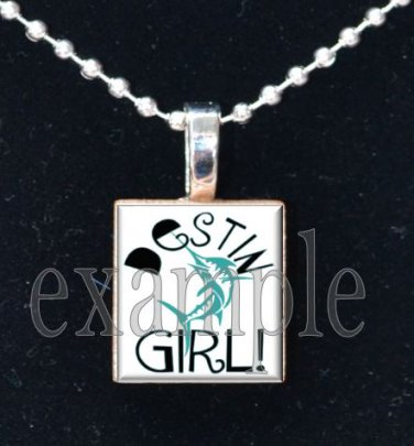 DESTIN MIDDLE SCHOOL MARLINS GIRL School Team Mascot Pendant Necklace Charm or Keychain