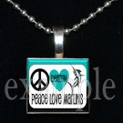 DESTIN MIDDLE SCHOOL PEACE LOVE MARLINS School Team Mascot Pendant Necklace Charm or Keychain