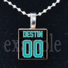 DESTIN MIDDLE SCHOOL MARLINS PERSONALIZED FOOTBALL JERSEY School Team Mascot Necklace or Keychain
