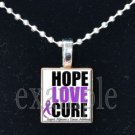 ALZHEIMER'S HOPE LOVE CURE Awareness Ribbon Scrabble Tile Pendant Necklace Charm Key-chain
