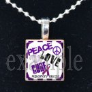 ALZHEIMER'S PEACE LOVE CURE Awareness Ribbon Scrabble Tile Pendant Necklace Charm Key-chain