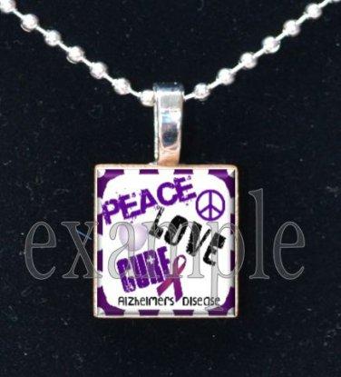 ALZHEIMER'S PEACE LOVE CURE Awareness Ribbon Scrabble Tile Pendant Necklace Charm Key-chain