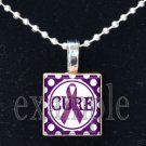 ALZHEIMER'S CURE Awareness Ribbon Scrabble Tile Pendant Necklace Charm Key-chain