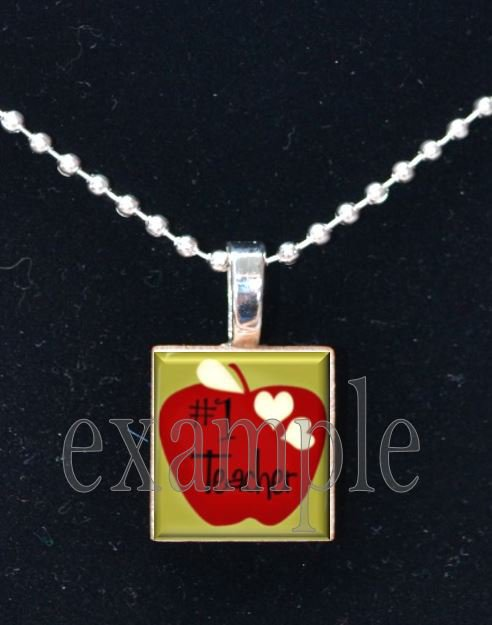 #1 School Teacher Scrabble Necklace Pendant Charm or Key-chain Great Gift