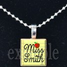 Teacher PERSONALIZED Apple Notebook Paper Scrabble Necklace Pendant Charm Key-chain Great Gift