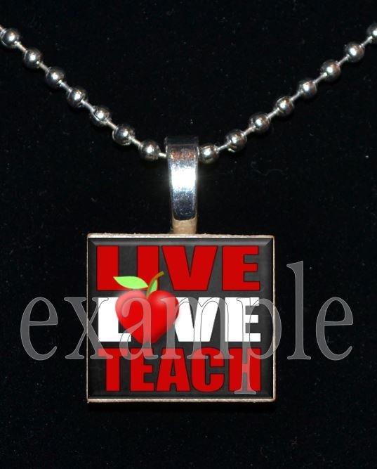 Live Love TEACH Apple Heart Necklace Charm Wood Scrabble Tile Pendant OR Key-chain