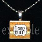 TEACHER RULE Ruler Necklace Charm Wood Scrabble Tile Pendant OR Key-chain