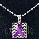 ALZHEIMER'S Awareness Purple Ribbon Chevron Scrabble Tile Pendant Necklace Charm OR Key-chain