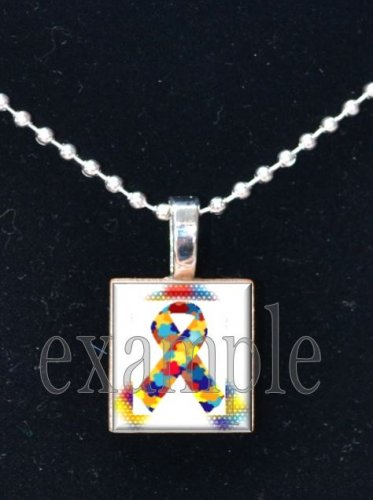 AUTISM Awareness Puzzle Ribbon Scrabble Tile Pendant Necklace Charm OR Key-chain