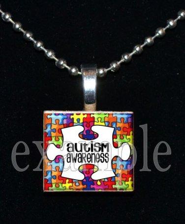 AUTISM Awareness Puzzle Ribbon Scrabble Tile Pendant Necklace Charm OR Key-chain