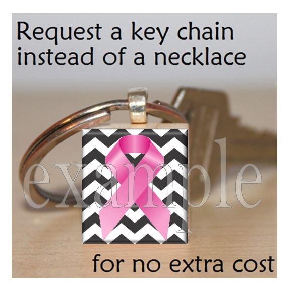 BREAST CANCER Awareness Ribbon Scrabble Tile Key-chain