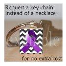 ALZHEIMER'S  Awareness Ribbon Scrabble Tile Key-chain