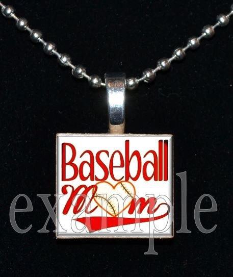 BASEBALL MOM Scrabble Tile Necklace Pendant Charm OR Key-chain
