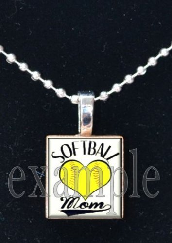 SOFTBALL MOM Scrabble Tile Necklace Charm OR Keychain