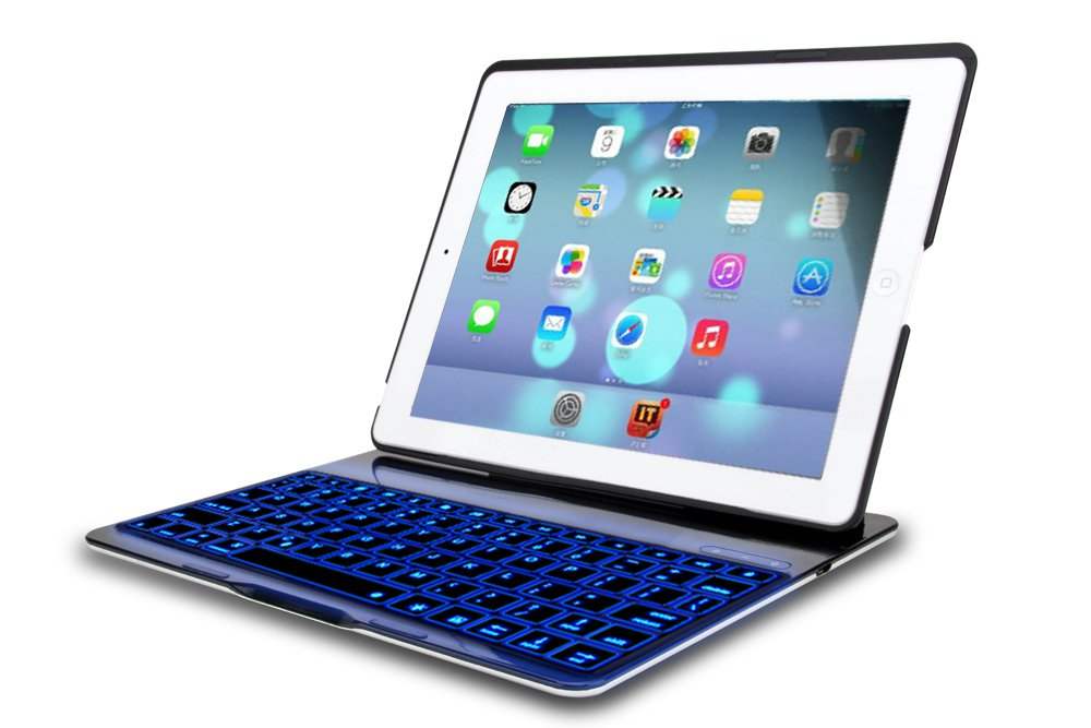 FlyStone® Folio Leathe Case Ultra-thin Backlit Bluetooth Keyboard for iPad Air / iPad 5 (Black)