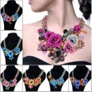 Spring Design Gold Chain Pink Flower Spray Paint Necklace SHIPS FREE WORLDWIDE
