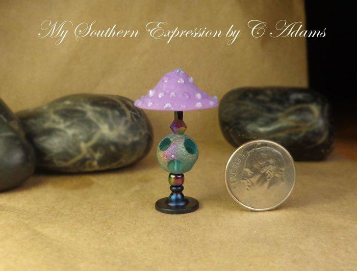 Dollhouse Lamp OOAK Mod Retro Disco Round Funky Glass Globe Lamp Handmade OOAK by C Adams