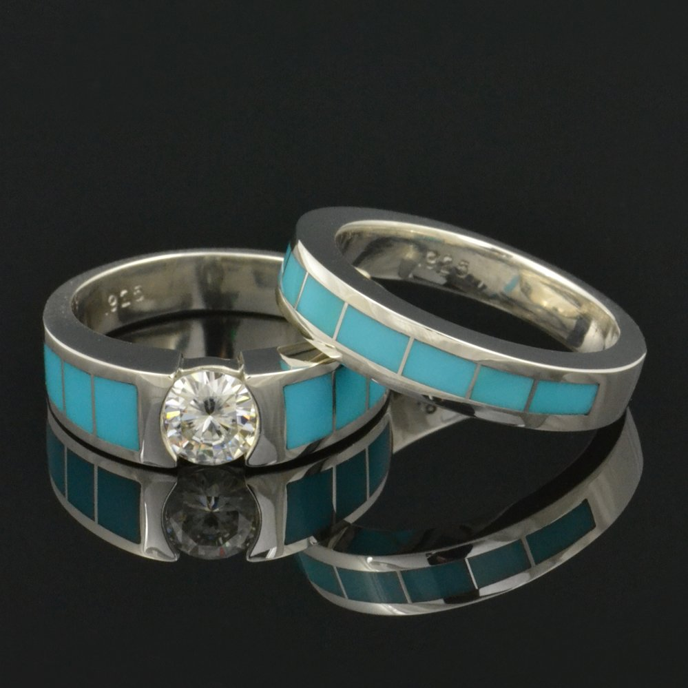 turquoise wedding band and engagement ring