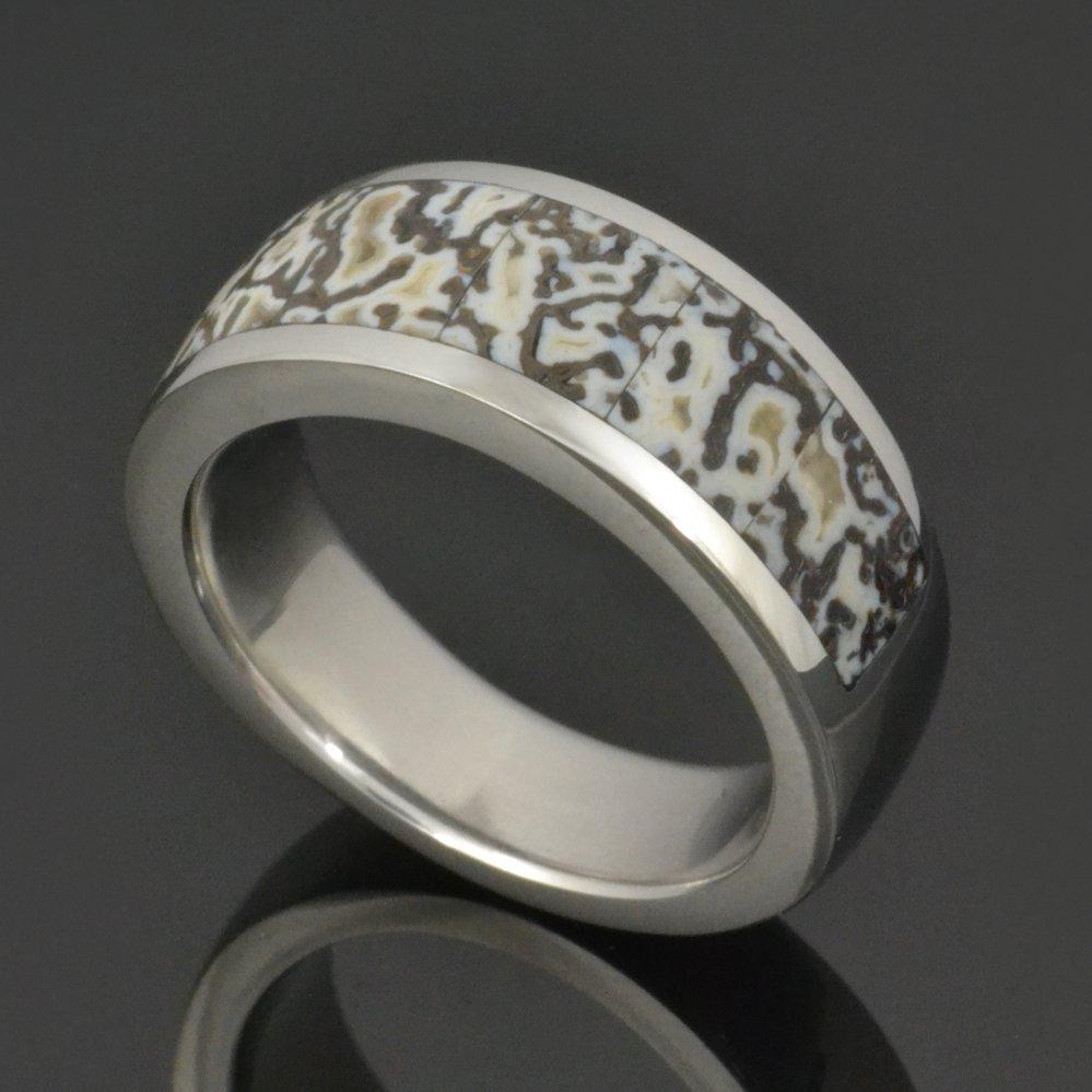 Black and White Dinosaur Bone Ring in Stainless Steel