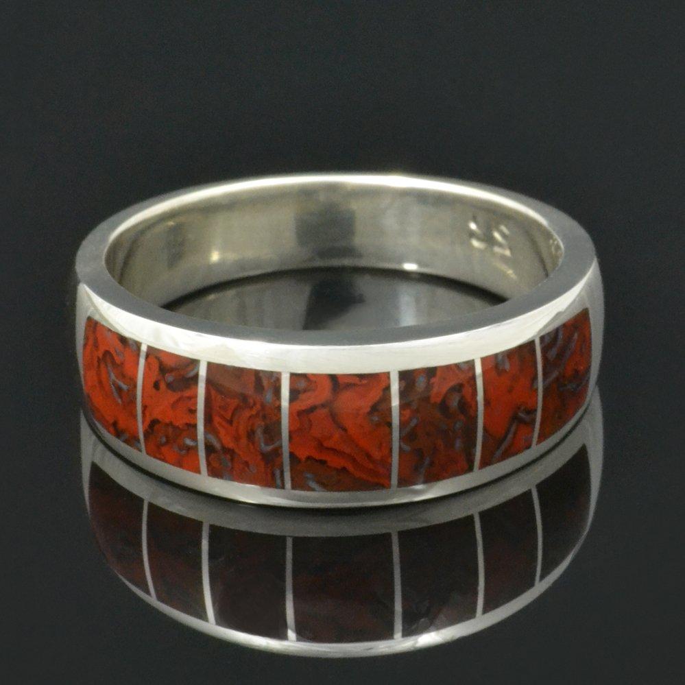 Red Dinosaur Bone Ring in Sterling Silver