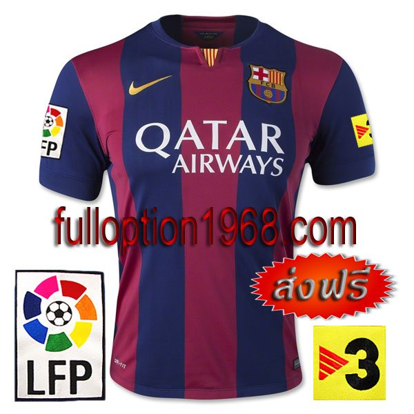 NEW 14-15 Barcelona Home Big LFP+TV3 Patch Soccer Football Shirt Jersey