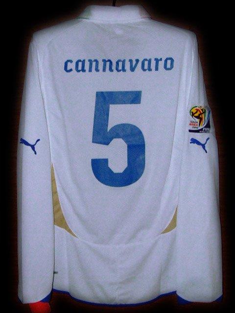 2010 Italy Away Cannavaro 5 Fifa World Cup Final 2010 Patch LS Soccer Football Shirt Jersey # XL